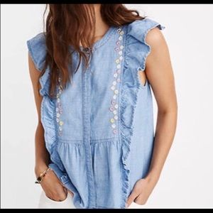 NWT Madewell Ruffled Top w/ Embroidered Detail